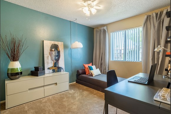 model guest bedroom at copper canyon apartment homes in riverside