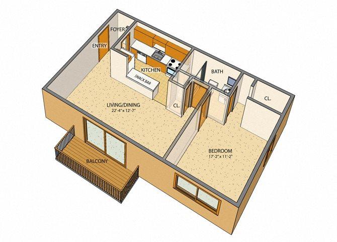 Sheridan Drive - 1 Bed, 1 Bath Floor Plan 1