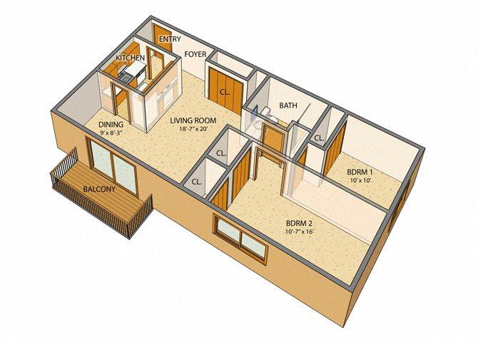 Sheridan Drive - 2 Bed, 1 Bath Floor Plan 2