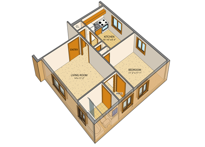 Princeton Court - 1 Bed, 1 Bath Floor Plan 2