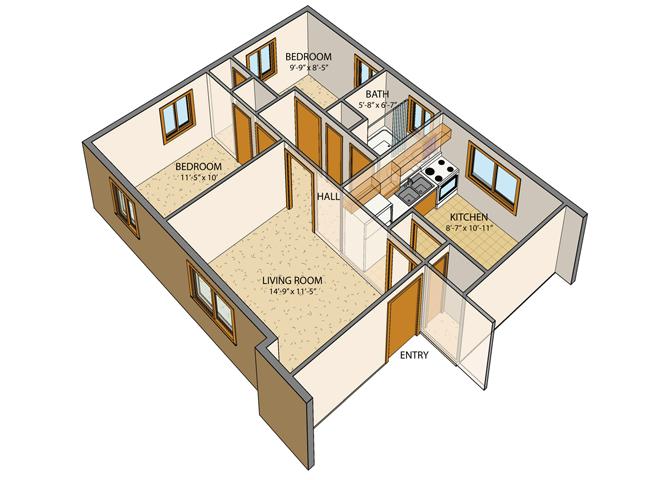 Princeton Court - 2 Bed, 1 Bath Floor Plan 3