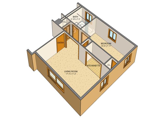 Princeton Court - Efficiency Floor Plan 1