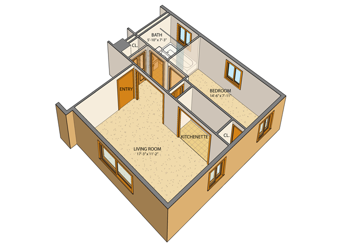 Merveilleux Princeton Court   Efficiency Floor Plan 1