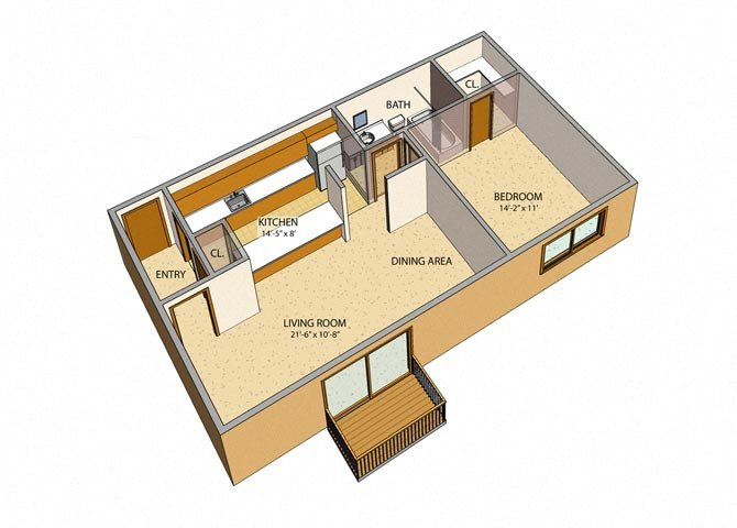Liberty Square - 1 Bed, 1 Bath, Rear Floor Plan 2