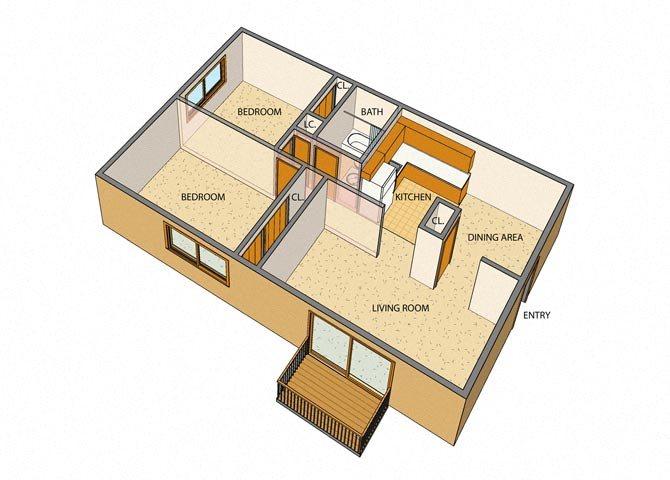 Liberty Square - 2 Bed, 1 Bath, Rear Floor Plan 4