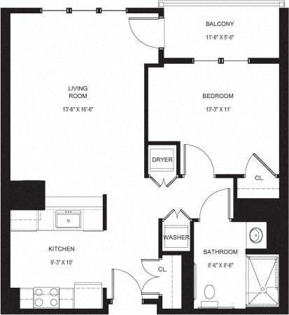 1 Bed - 1 Bath Floor Plan 1