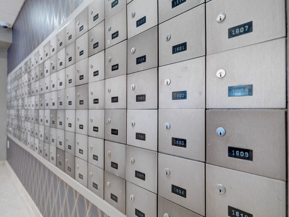 Mail room at Quincy Tower in Boston, MA