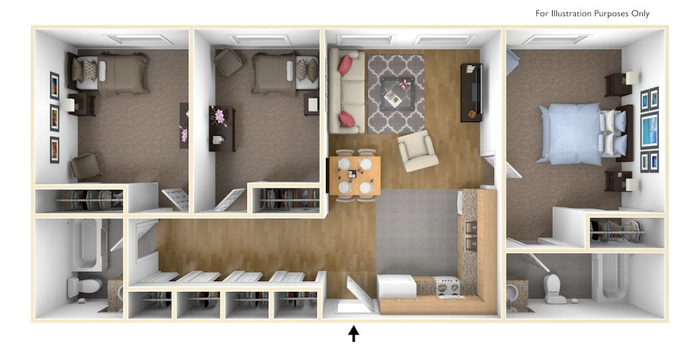 Three Bedroom Apartment Floor Plan Royal Worcester Apartments