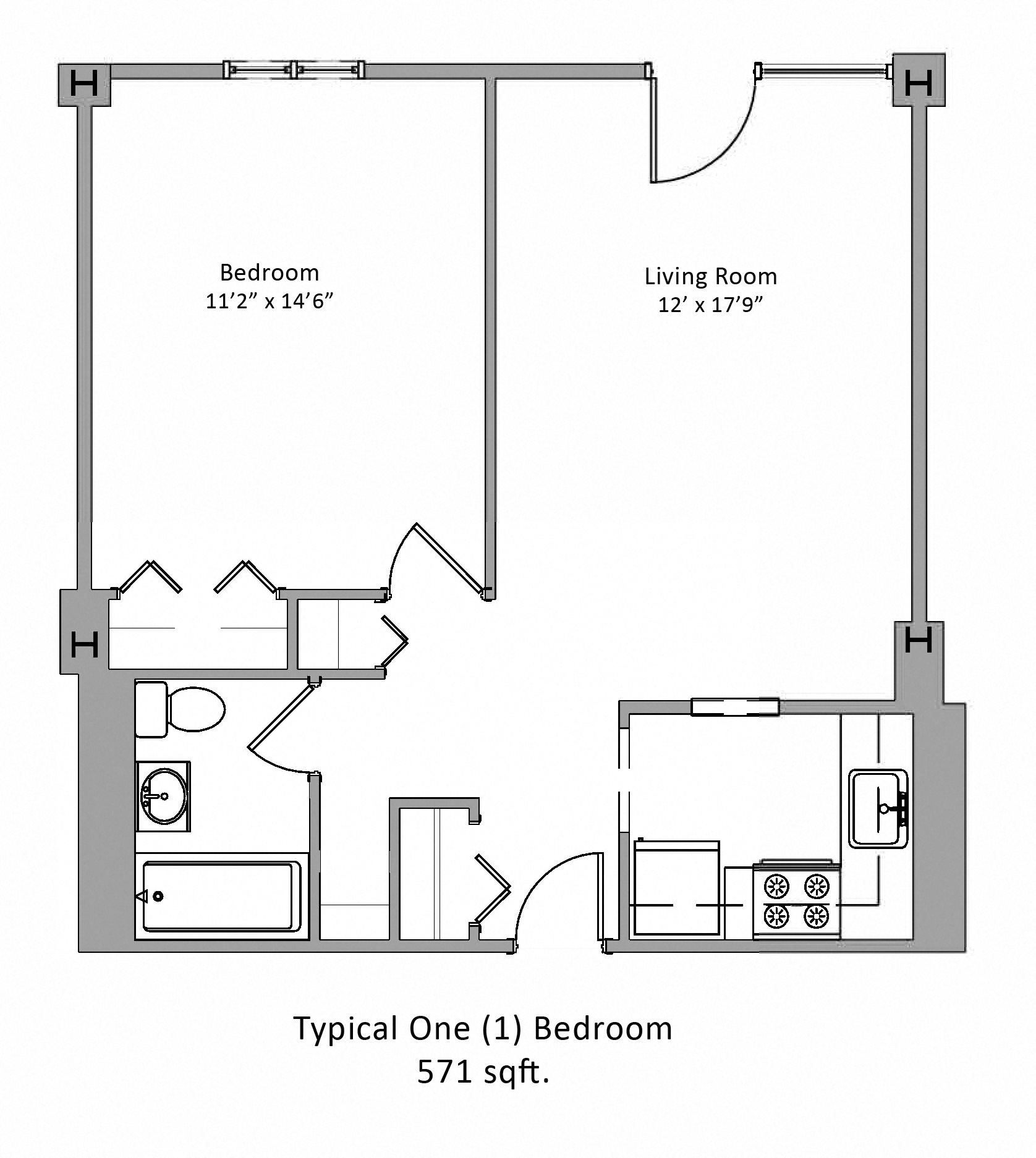 One bedroom floor plan at Jaclen Tower Apartments in Beverly, MA