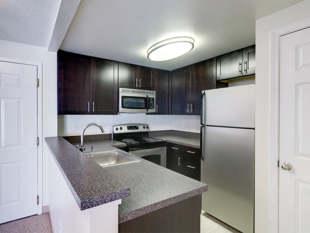 Stainless steel with dark wood cabinets kitchen at Ponside at Littleton Apartments