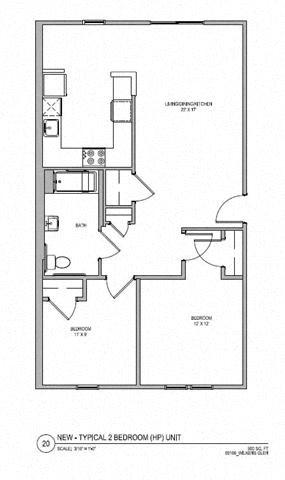 2 BR 1 BA Floor Plan 2