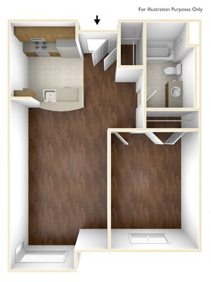 One Bedroom Floor Plan Old Colony Apartments