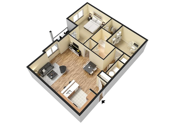 Dickerson (1 Bed + Den) Floor Plan 3