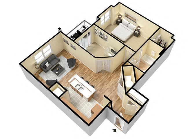Monocacy (1 Bed + Den) Floor Plan 2