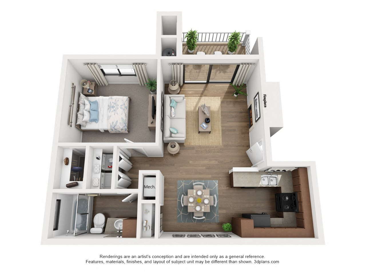 1 Bdrm, Bath, Downstairs Floor Plan 1