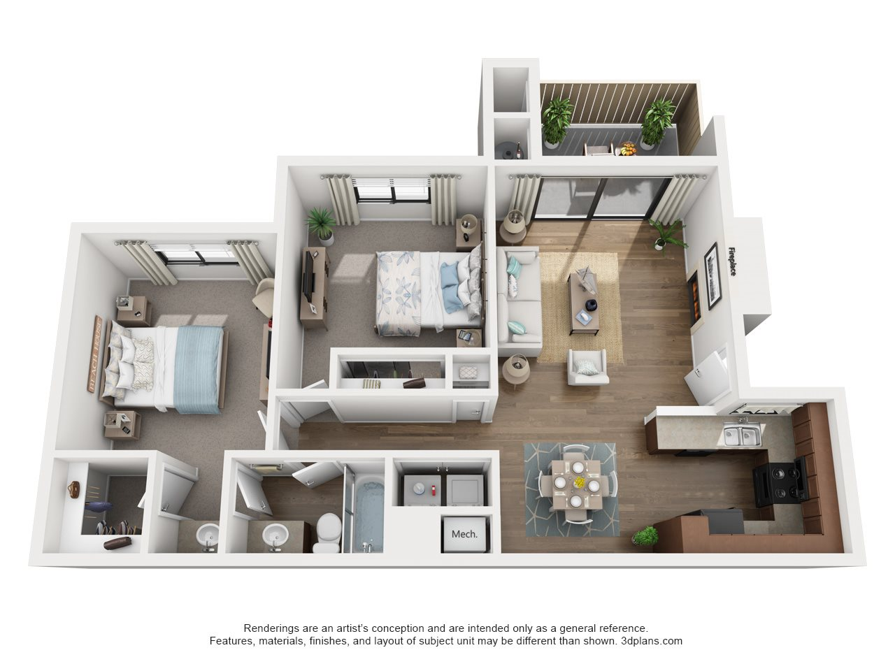 2 Bedroom, 1.25 Bath, Downstairs Floor Plan 5