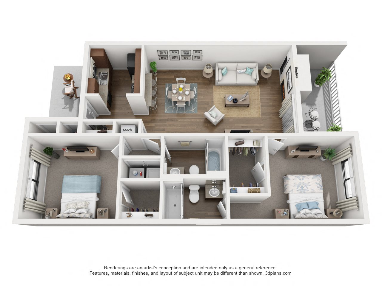 2 Bdrm, 2 Bath, Upstairs Floor Plan 7