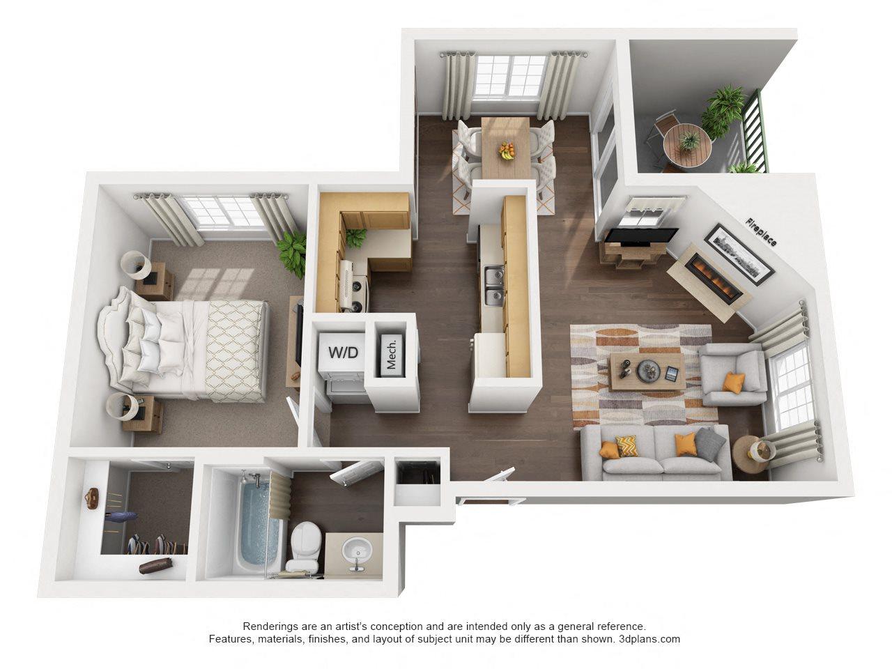1 Bedroom, 1 Bath, Downstairs Floor Plan 1