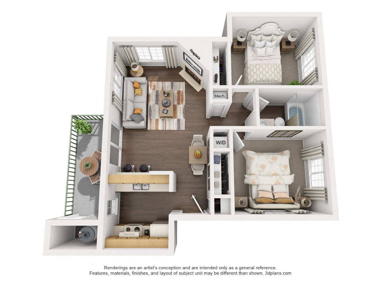 2 Bedroom, 1 Bath, Downstairs Floor Plan 3