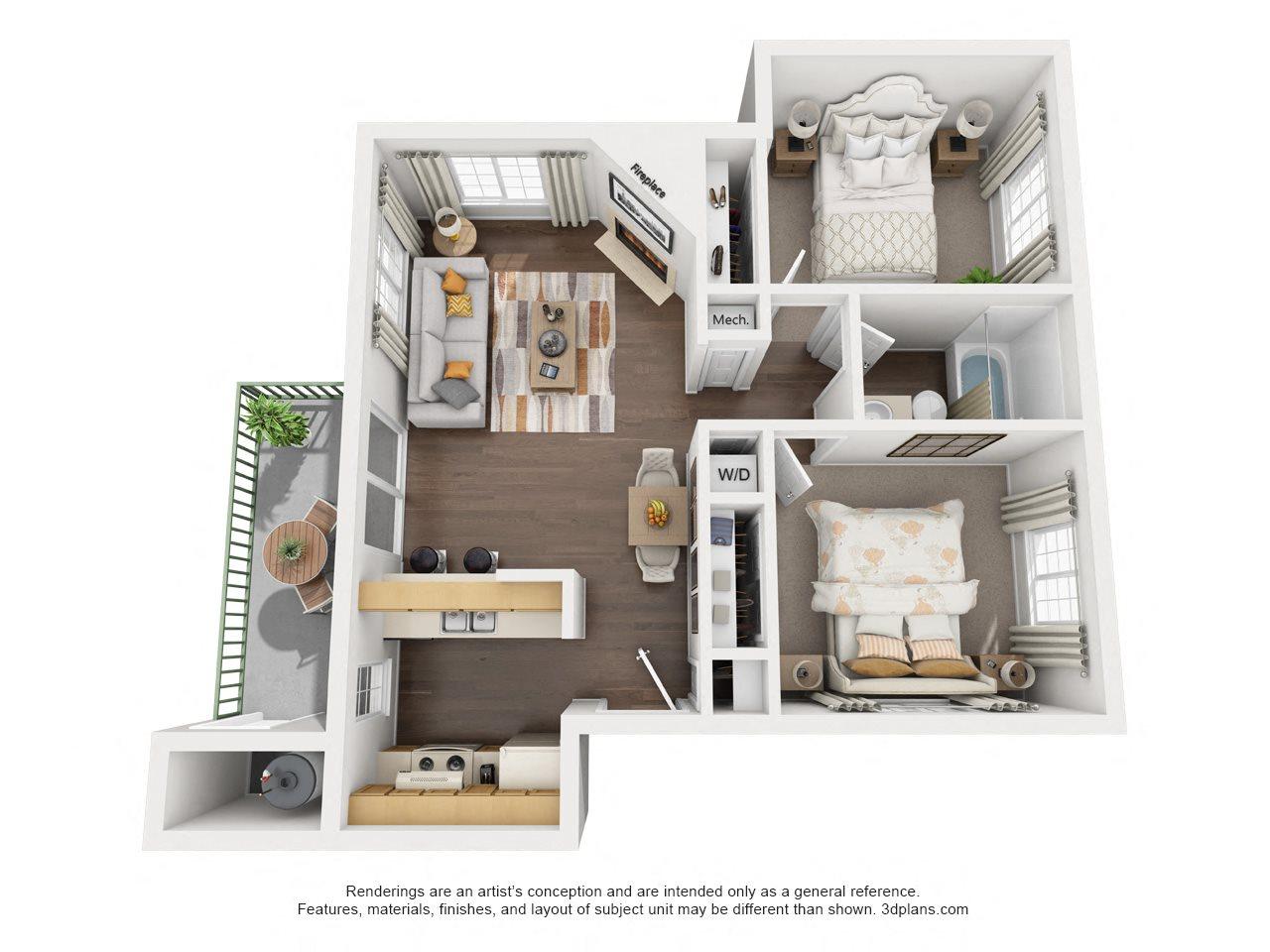 2 Bedroom, 1 Bath, Upstairs Floor Plan 4