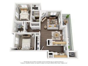 2 Bedroom, 2 Bath, Downstairs