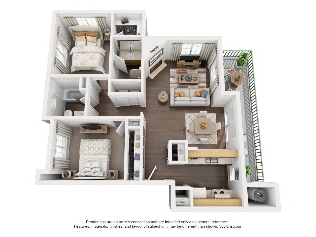 2 Bedroom, 2 Bath, Upstairs Floor Plan 6