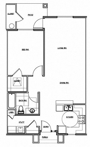 1 Bedroom Courtyard Floor Plan 1