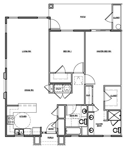 2 Bedroom Courtyard Floor Plan 4