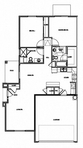 2 Bedroom w/Double Garage Floor Plan 3