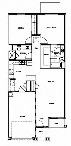2 Bedroom w/Single Garage Floor Plan 2