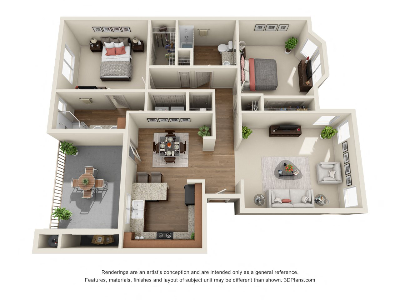 2 Bedroom, 2 Bath, Upstairs Floor Plan 4