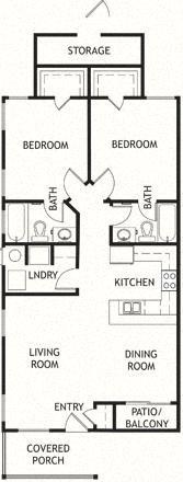 2 Bedroom, 2 Bath, Single Level Floor Plan 1