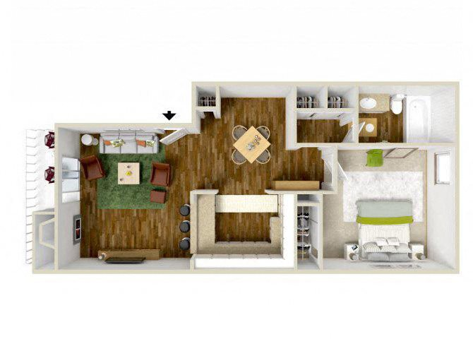 the 1 Bed 1 Bath floor plan