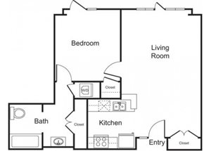 1BD, 1BTH B floor plan