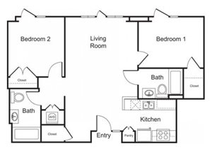 2BD, 2BTH B floor plan