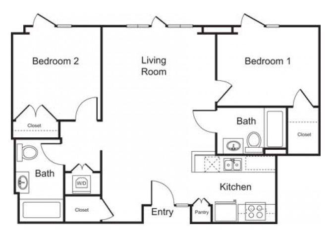 2BD, 2BTH B floor plan