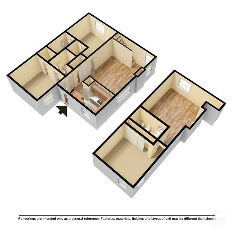 3 Bedroom 3 Bath Townhome Floor Plan 1