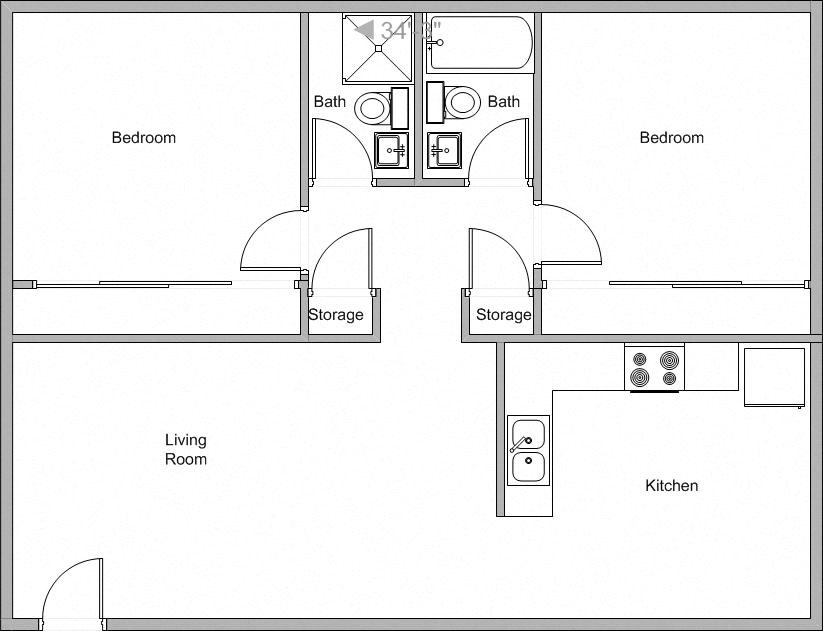 2 Bedroom 2 Bathroom Floor Plan 2