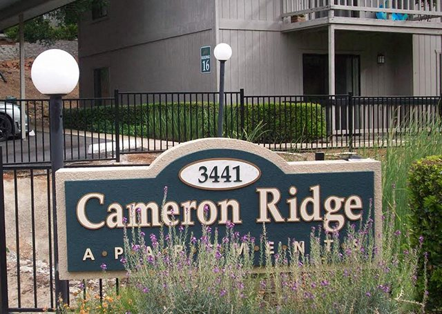 Community sign l Apartments in Cameron Park l Cameron Ridge