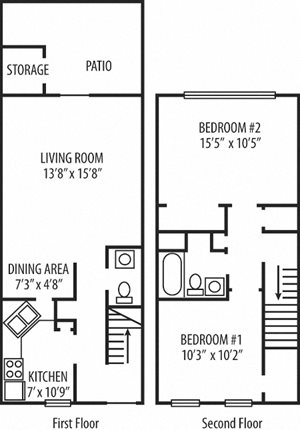 2 Bedroom 1.5 Baths