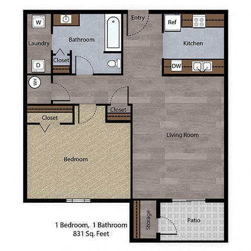 1 Bedroom, 1 Bathroom - 831 SF