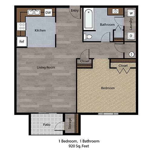 1 Bedroom, 1 Bathroom - 920 SF