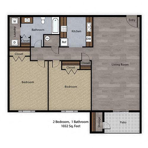 2 Bedroom, 1 Bathroom - 1032 SF