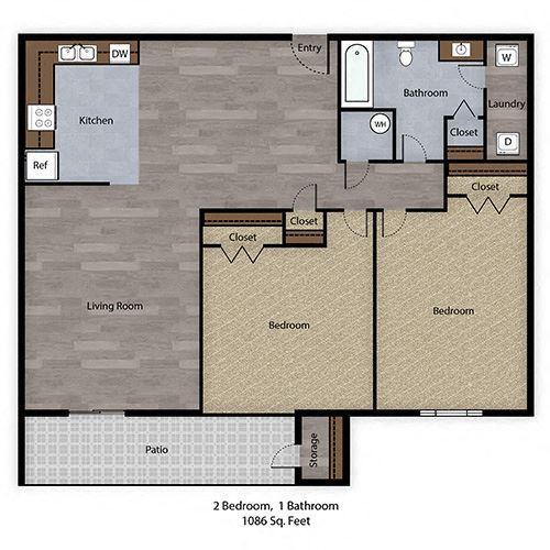 2 Bedroom, 1 Bathroom - 1086 SF