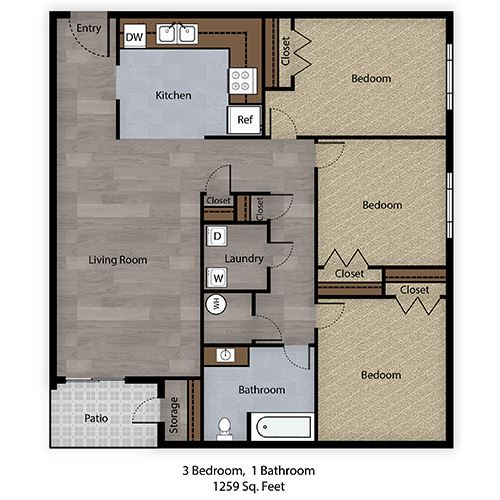 3 Bedroom, 1 Bathroom - 1259 SF