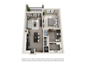 The Bass 3D. 1 bedroom apartment. Kitchen with island open to living room. 1 full bathroom. Walk-in closet. Patio/balcony.