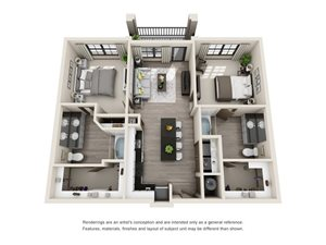 The Chisholm 3D. 2 bedroom apartment. Kitchen with island open to living room. 2 full bathrooms, double vanity in master. Walk-in closets. Patio/balcony.