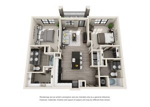 The Harrell 3D. 2 bedroom apartment. Kitchen with island open to living room. 2 full bathrooms, double vanity in master. Walk-in closets. Patio/balcony.