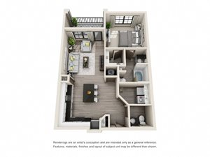 The Harris 3D. 1 bedroom apartment. Kitchen with island open to living room. 1 full bathroom + powder room. Walk-in closet. Patio/balcony.