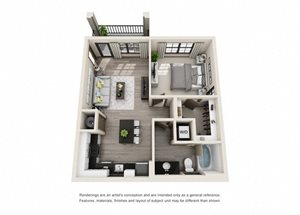 The Knight 3D. 1 bedroom apartment. Kitchen with island open to living room. 1 full bathroom. Walk-in closet. Patio/balcony.